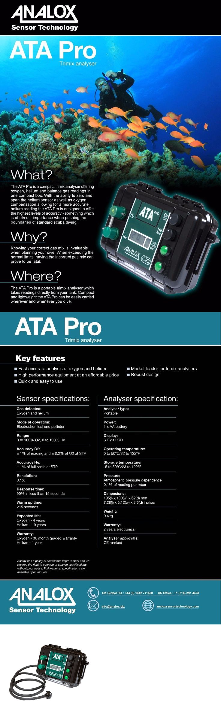 Other SCUBA and Snorkeling 1300: Analox Ata Pro Trimix Analyzer For Scuba Divers - Helium And Oxygen - Open Box BUY IT NOW ONLY: $685.95