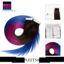 """Neitsi cilt atkı İnsan saç uzantıları 100% hint bakire remy bant saç 5a 20 """"20/40 adet t1b/mor/mavi üç ton ombre renk"""