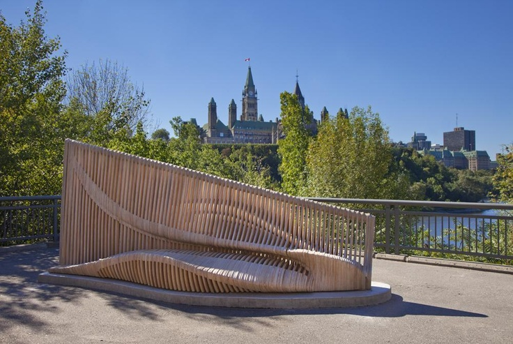 """Jetée"" is unique sculptural seating in Major's Hill Park where you can sit and enjoy a panoramic view of Parliament Hill and the Ottawa River in downtown Ottawa, Canada."
