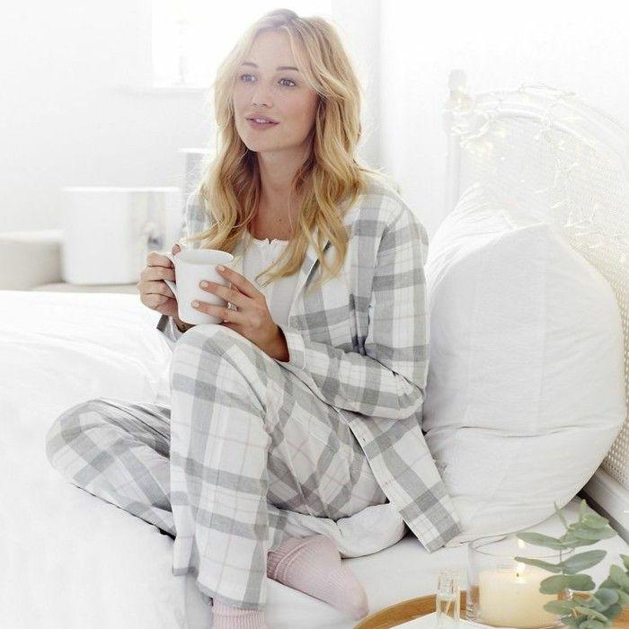 pyjamas chauds femme, pyjama femme pas cher carreaux gris