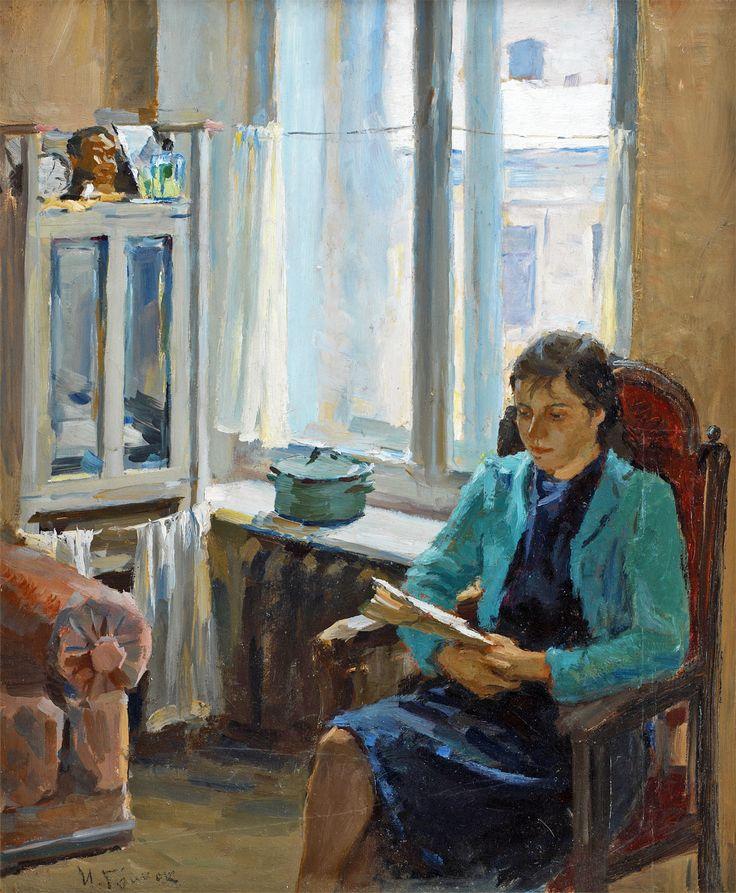 "Ivan Aleksandrovich Grinyuk (Russian, 1915-1996) - ""Woman Reading"", 1945"