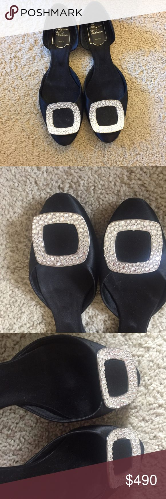 Roger Vivier Black Ballerine Chips Satin D'orsay very good condition comes with dust bag and shoe boxes size 7 I put a protect on the sole before I wore Roger Vivier Shoes Flats & Loafers