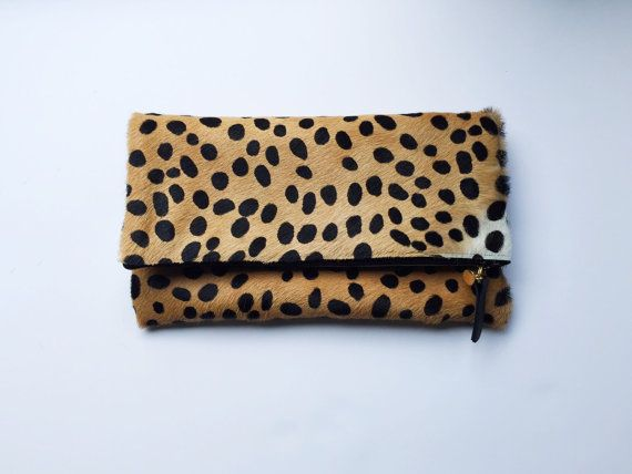 Cheetah Print Fold Over Clutch by TheProvidenceStory on Etsy