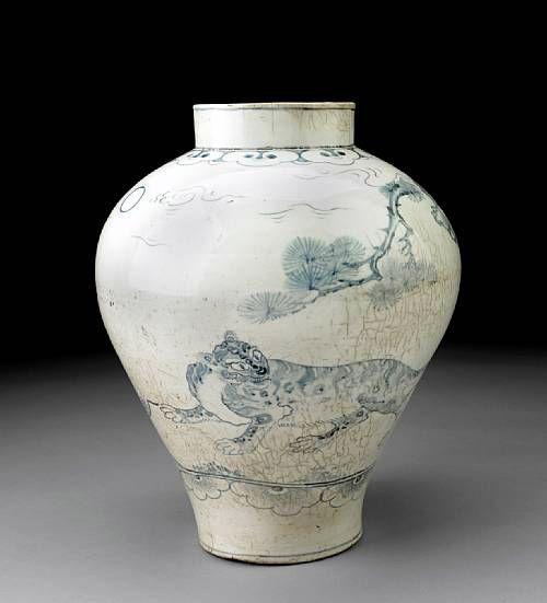 (Korea) Blue and White Porcelain Jar. ca 18th century CE. Joseon Kingdom, Korea…
