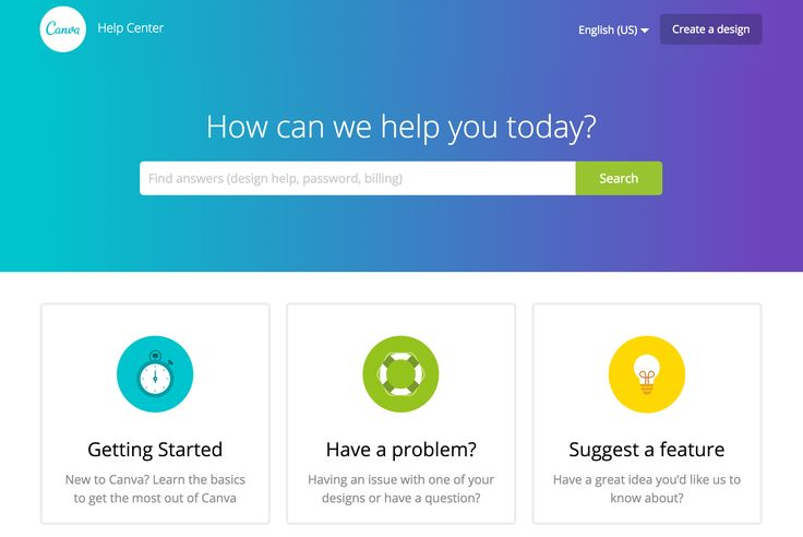 The simple use of colour and clean icons makes it a pleasure to use the @canva Help Center