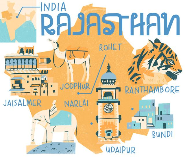 Raj Mirage Illustrated Map India Map Pictorial Maps