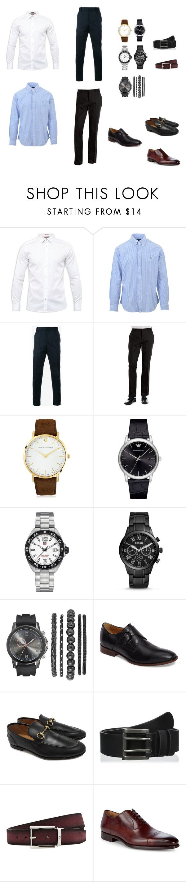 """Propuesta administrativa- hombres"" by loraine-parroquin on Polyvore featuring Ted Baker, Ralph Lauren, Gucci, Calvin Klein, Larsson & Jennings, Giorgio Armani, TAG Heuer, FOSSIL, Johnston & Murphy y Levi's"