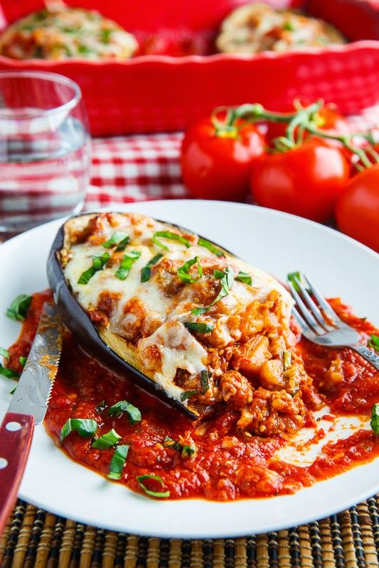 Eggplant Parmesan Boats (this would be easy to make vegetarian. I would make vegetarian Italian sausage.)