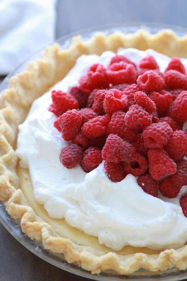Lemon Cream Pie with Fresh Raspberries from Lauren's Latest