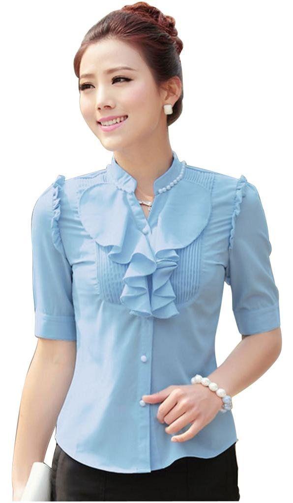 Laypoo Women's Chiffon Ruffle Front Detail V-Neck Blouse Office Short Sleeve Shirt at Amazon Women's Clothing store: