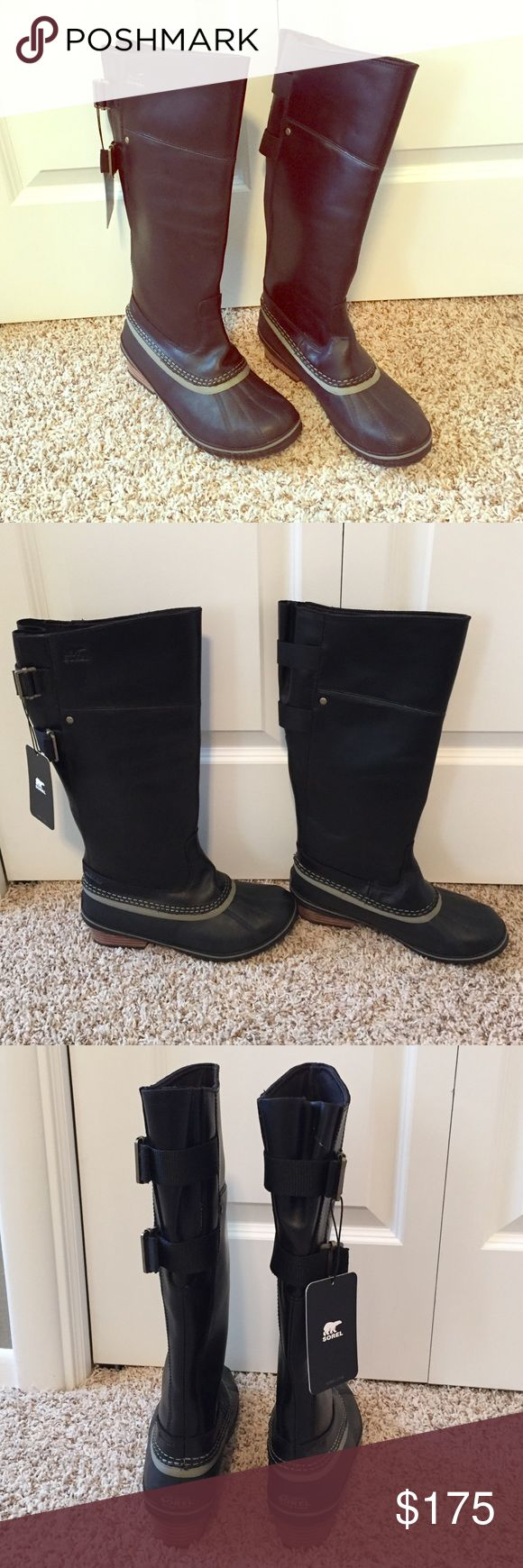 Sorry Slimpack riding tall boots Nwt black Sorel slimpack riding boots. Brand new. Never been worn. Waterproof full grain leather. Very versatile and super cute! Sorel Shoes Winter & Rain Boots