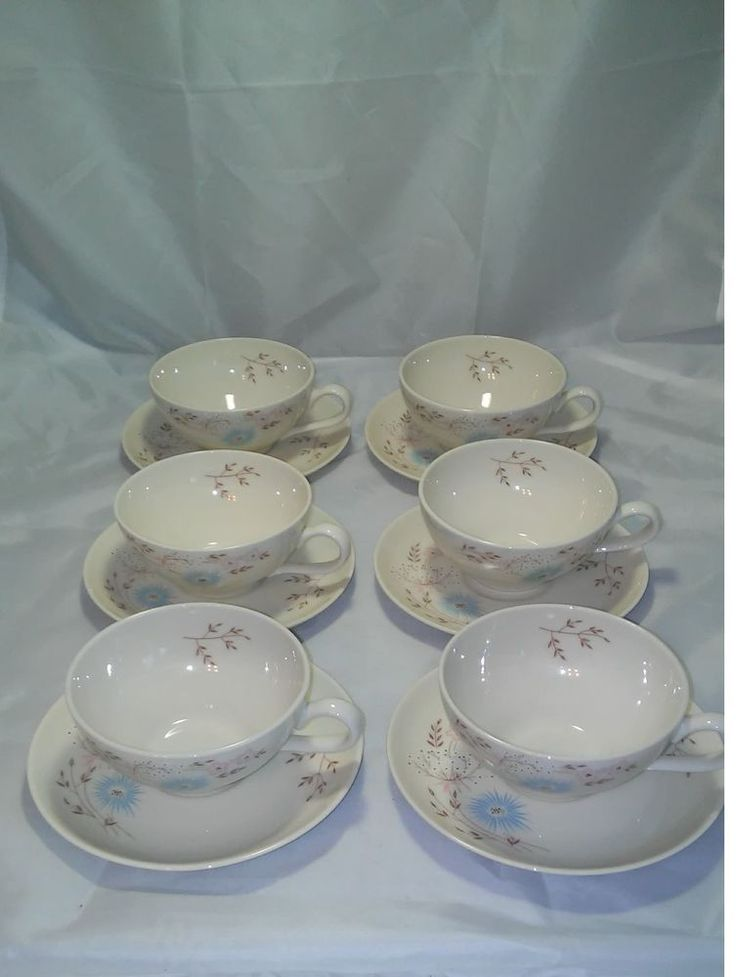 SET OF 6 Vintage Taylor Smith & Taylor Taylorton Echo Dell Teacups and saucers!  #TaylorSmithTaylor #lugged