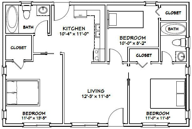 Home Garden 2 Bedroom 2 Bath Model 1b Pdf Floor Plan 864 Sq Ft 36x24 House Home Improvement