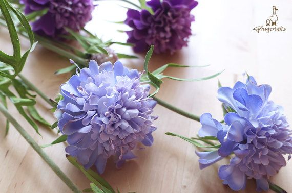 "Lavender Scabiosa Each stem measures approx. 27"" in length. Each stem has 2 flowers and 1 bud. Each flower measures approx. 2 1/2"" wide and each bud measures approx. 3/4"" wide. The listing is for ONE stem. Available in two colors:  1) Purple 2) Lavender  ** This scabiosa can be ordered WITH or WITHOUT the stem.  {Perfect for} - bridal bouquet, corsage, boutonniere, headpiece and wedding crown - gift packaging - wedding, anniversary, birthday, party and holiday decorating Handpicked ..."