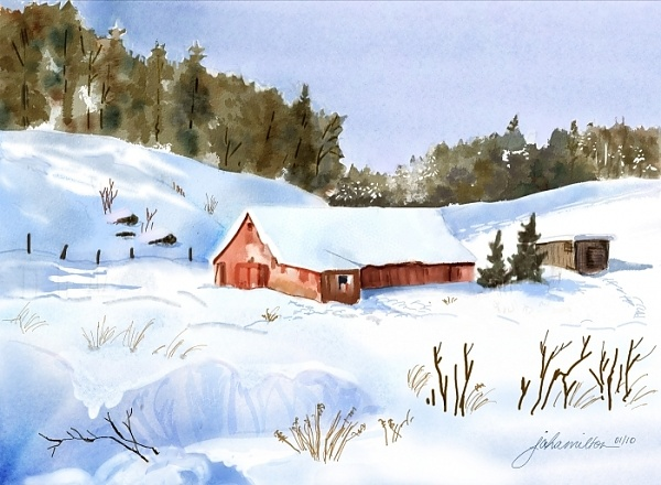 """Ray's Red Barn Snowed In"" - Digital watercolour, in Snowy Landscapes"