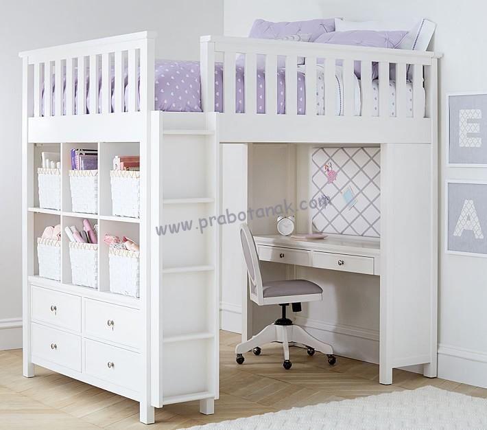 Full Set Ranjang Susun Dengan Meja Belajar Dan Lemari Mini dengan set lengkap dalam 1 presentasi produk furniture anak anak, dengan harga 3 jutaan saja