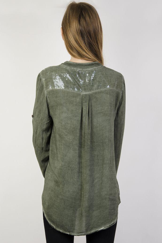 Koszula asymetryczna mgiełka khaki z cekinami