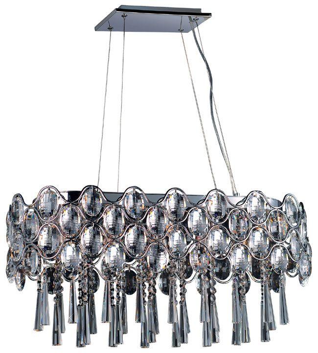 Maxim 39926BCPC Jewel 19-light Crystal Contemporary Kitchen Island Lighting Fixture - max-39926BCPC