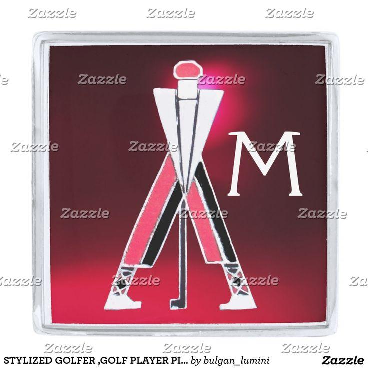 STYLIZED GOLFER ,GOLF PLAYER PINK RED GEM MONOGRAM SILVER FINISH LAPEL PIN #golf #golfplayer #golfer #sport #fashion #sports #golfers