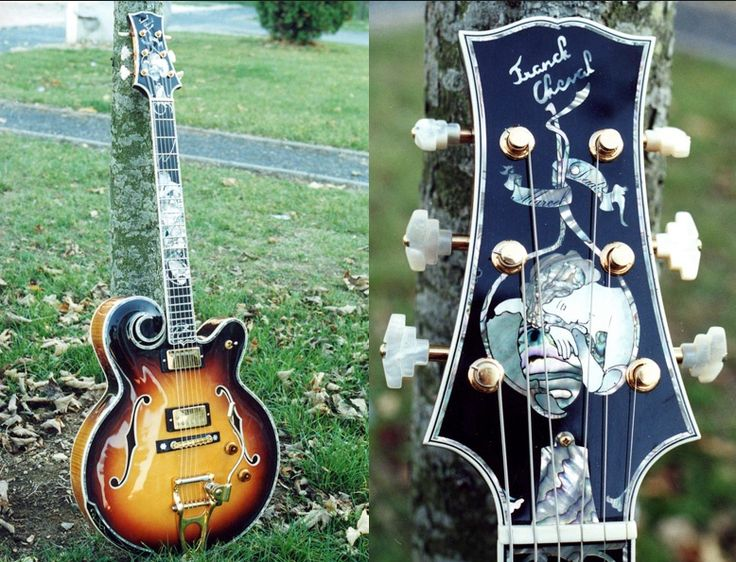 Cheval Princesse 1 wonderful details (headstock inlay). This guitar belonged to the late Marcel Dadi.