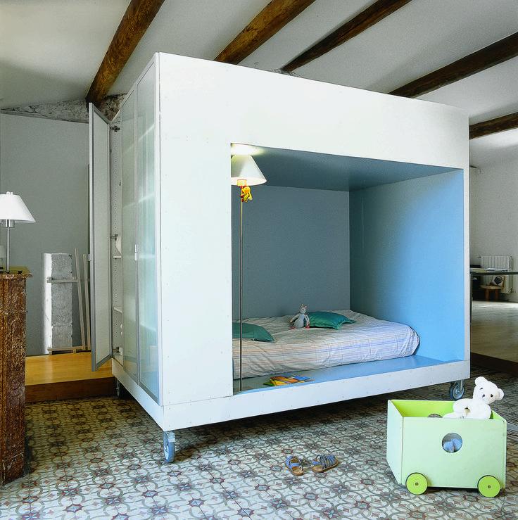 alcove    lit sur roulettes      blanchard quinquis architectes