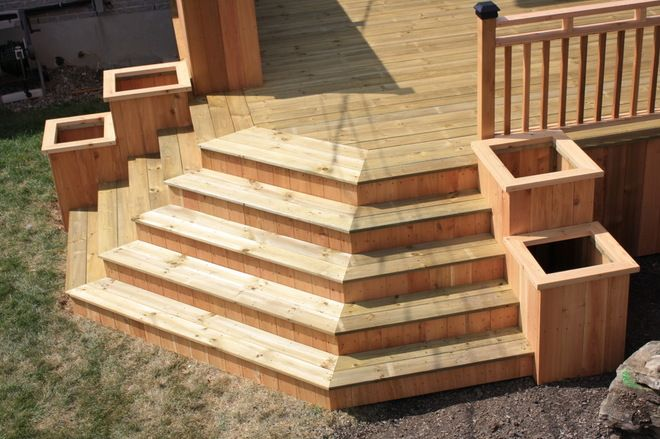 L shaped deck ideas google search garden pinterest for Pre built stairs