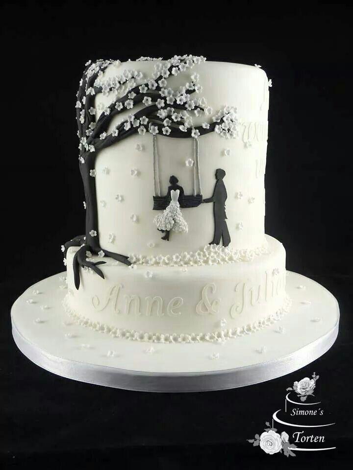Braut auf einer Schaukel mit Hochzeitstorte des Bräutigams 2 Reihen   – Hochzeit Kuchen