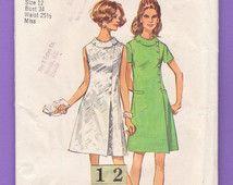 Rouleau de collier côté bouton Wrap Dress / années 1960 simplicité 8541 mi-été siècle A ligne Cocktail ou patron de couture robe de bureau / taille buste 12 34