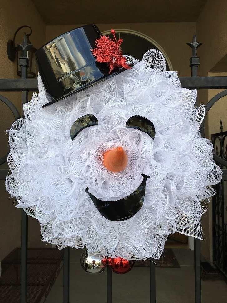 Snowman Wreath Ideas How To Make Deco Mesh Snowman Wreath