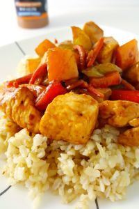 Tangerine Chicken Stir-Fry is is a healthy recipe for dinner.  You can easily sub beef for the chicken in this meal.