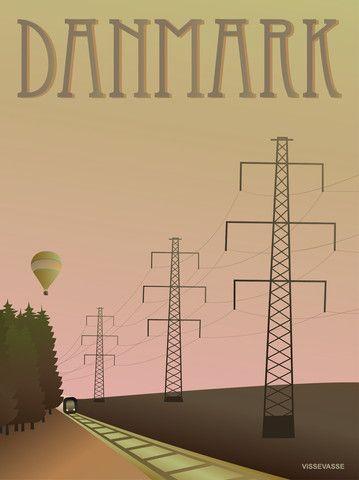 Vissevasse plakat DANMARK - MASTERNE  De smukke grafiske højspændingsmaster. I 1000 vis. Over hele landet står de på markerne og langs vejene. Men nu er det snart slut. Nedgravningen af elkabler er begyndt...og ja, denne plakat er en hyldest til dem. Og til de høje danske grantræer. Og luftballonerne i sommeraftnerne. Og en dejlig togtur tværs igennem landet, med en flad næse mod ruden...