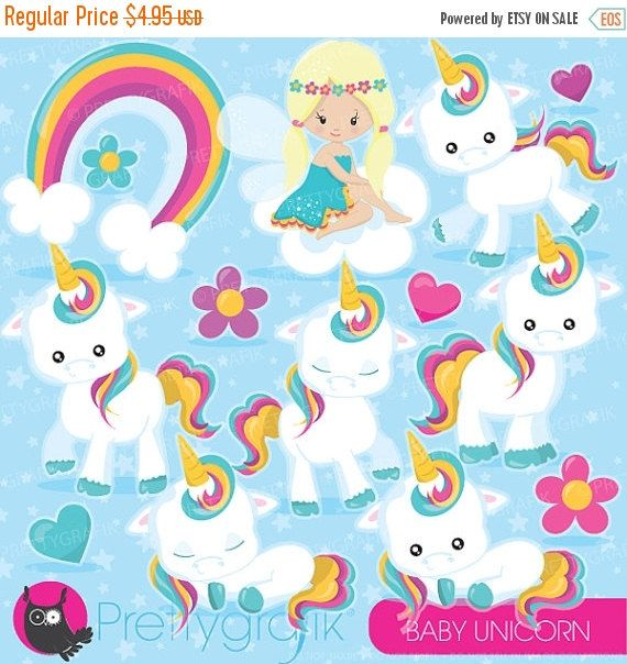 80% OFF SALE Baby Unicorn clipart commercial by Prettygrafikdesign