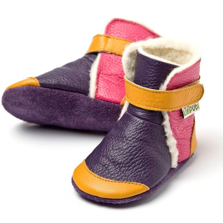 Liliputi® soft soled booties - Yukon Yellow #softleatherbabyboots #babyboots #winter