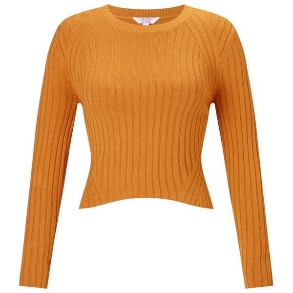 Miss Selfridge PETITE Crop Ribbed Jumper (2.760 RUB) ❤ liked on Polyvore featuring tops, sweaters, ochre, petite, cropped sweater, miss selfridge, petite jumpers, mustard sweater and cropped jumper