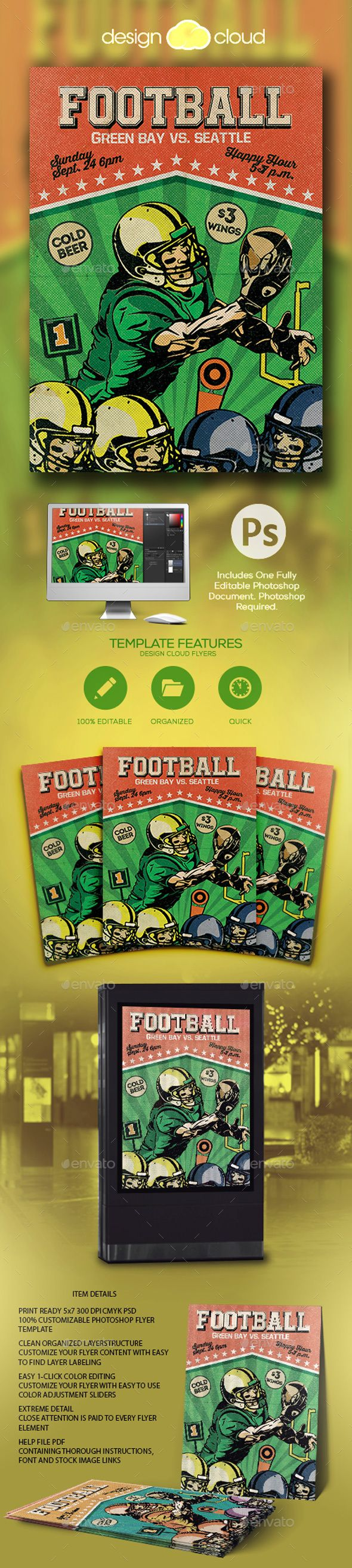 Retro Football Flyer Template  — PSD Template • Only available here ➝…