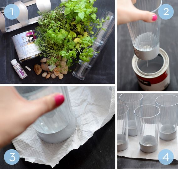 DIY Indoor Herb Garden IKEA Hack... color dipped glasses, chalkboard paint and an IKEA hack all in one
