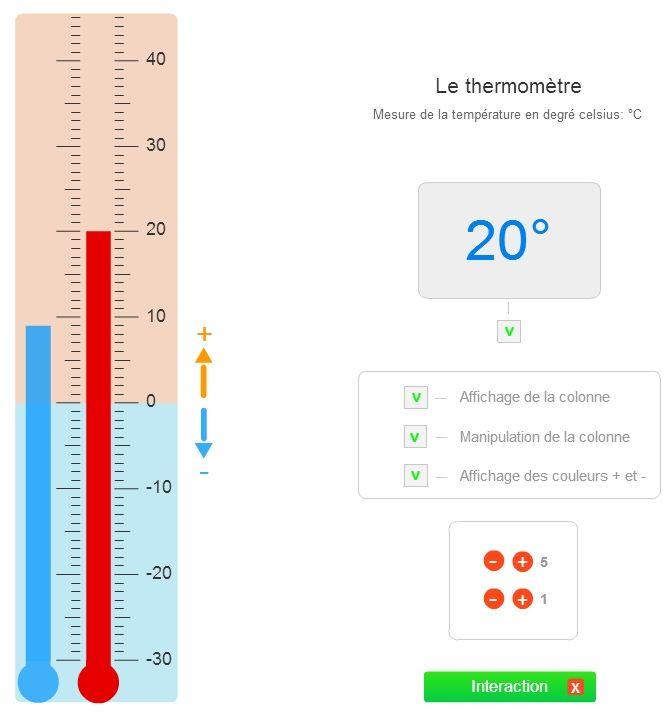 Un thermomètre interactif pour découvrir les températures et manipuler de manière ludique sur le TNI ou l'ordinateur.