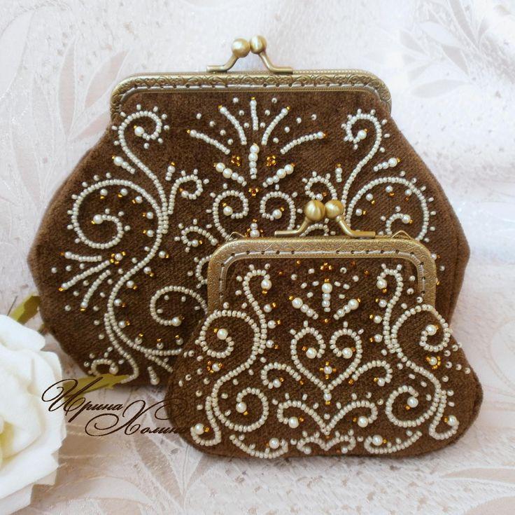 Комплект ( косметичка кошелек ) Шоколадное кружево | biser.info - всё о бисере и бисерном творчестве