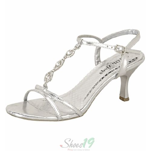 Top Moda Lina-02 Silver Rhinestone Evening Dress Shoes - Round Toe Classic  Pumps Clubbing