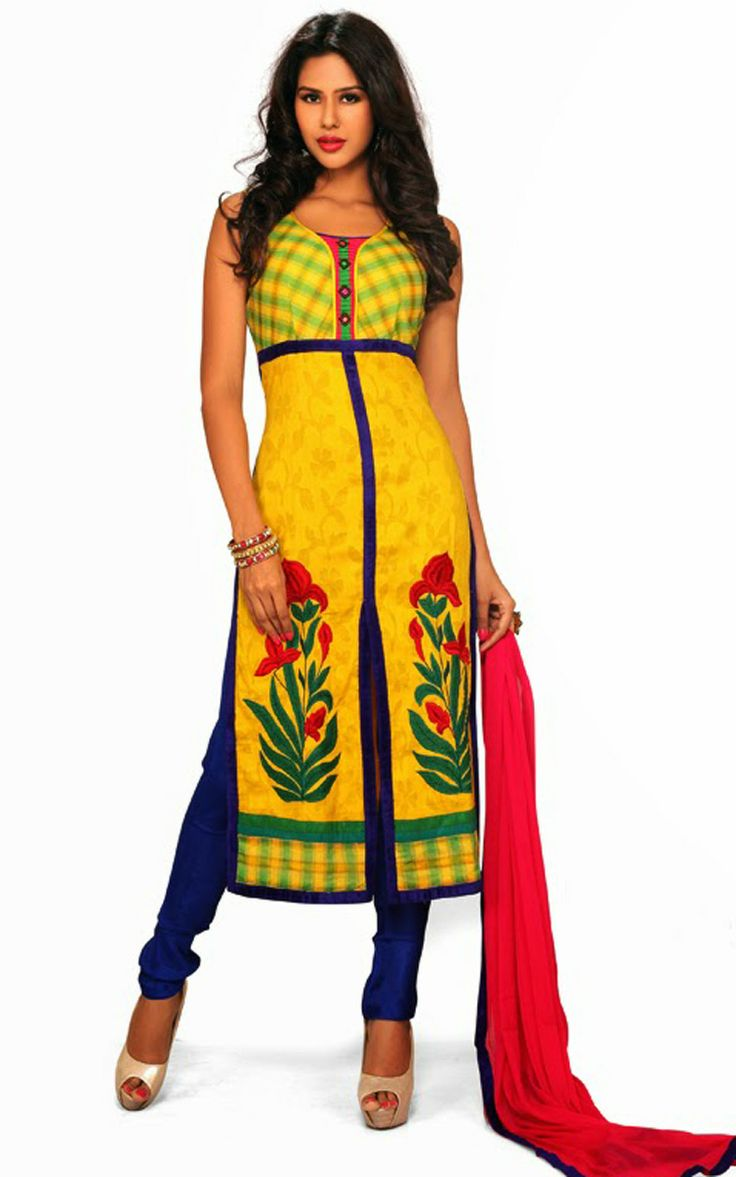 YELLOW & BLUE COTTON SALWAR KAMEEZ - DIF 29725