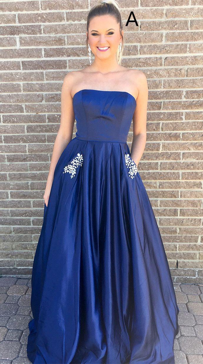 00ff4b03d93 Princess Strapless Navy Blue Yellow Long Prom Dress