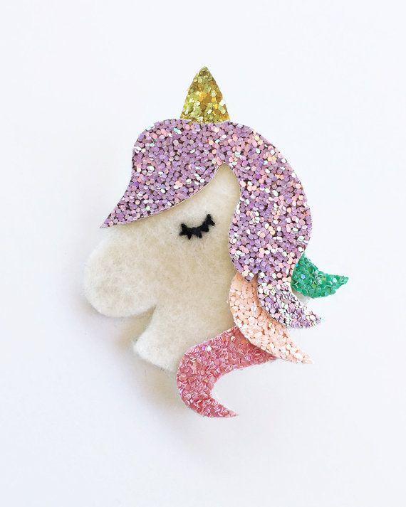 Magical Unicorn Felt Glitter Hair Clip or Headband  by sweetpjolie