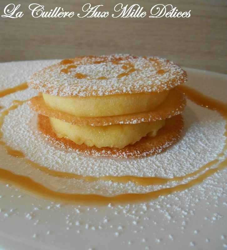 Tuiles bretonnes aux pommes & caramel au beurre salé