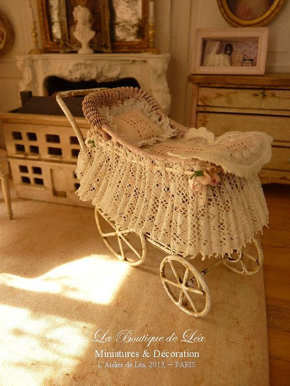 Pink pram sweet nursery  French old lace  by AtelierdeLea on Etsy