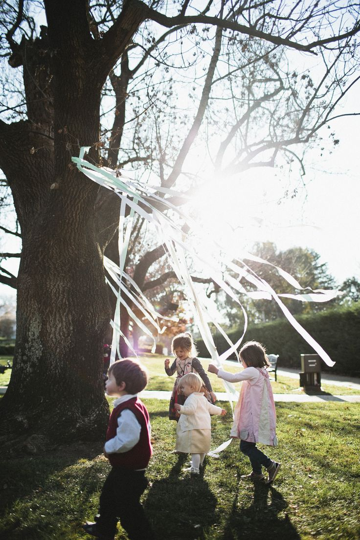 Streamers hanging from trees is a great way to entertain the kids