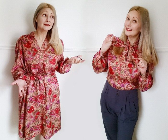 Transform a frumpy vintage dress into a fab new top in minutes with my Easy DIY Dress to Pussy Bow Blouse Refashion Tutorial