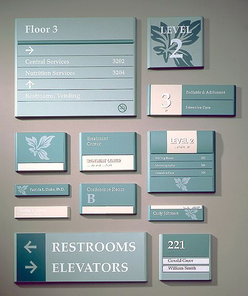 Not The Prettiest But An Example Of A Complete Interior Signage System Signage Pinterest