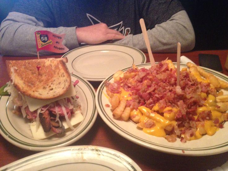 Route 58 Delicatessen: Bacon cheese fries and a Rueben