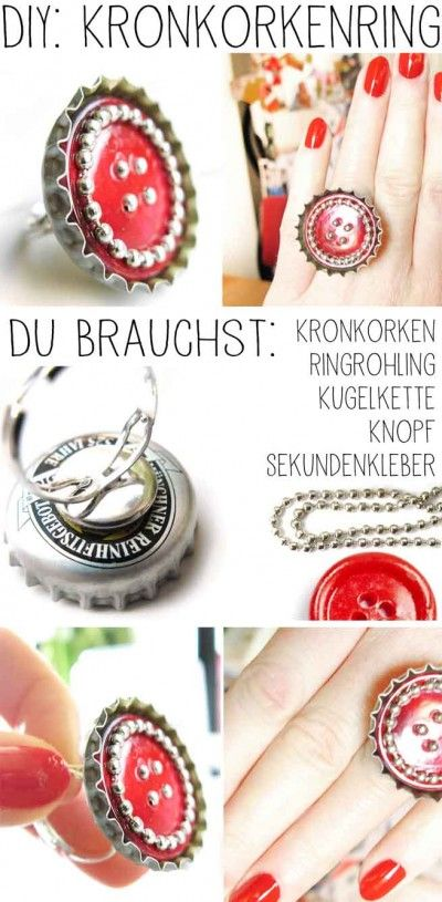 DIY: Ring aus Kronkorken. Bottle cap ring. (german)