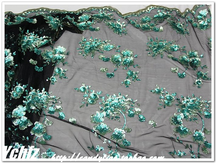Approx $14 per metre. Green embroidery yarn sequins embroidery cheongsam dress clothing DIY fabric fabric lace - Taobao